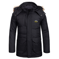 New Fake Fur Outdoor Hiking Ski Duck Down Winter Jacket Men Windbrekaer Water Resistant Camping Trekking