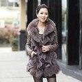 2016 Outono e Inverno das Mulheres Genuíno Couro de Carneiro Real Brasão com a Fox Fur Collar Feminino Magro Casacos VF0058