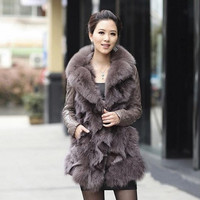 2017 Autumn and Winter Women's Genuine Real Sheepskin Leather Coat with Fox Fur Collar Female Slim Outerwear VF0058