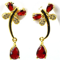 Elegant Dragonfly Blood Ruby White CZ Wedding 925 Gold Silver Earrings 27x11mm
