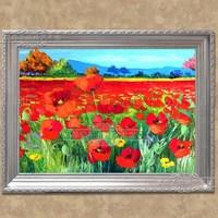 السماء الملونة 100% الشتوي الأحمر روز حديقة اليدوية الحديثة النفط الطلاء على قماش الفن صور ل غرفة ديكور الجدار لوحات