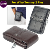 Men Genuine Leather Outdoor Sport Casual Phone Bag Cellphone Pouch For Wiko Tommy 2 Plus 5
