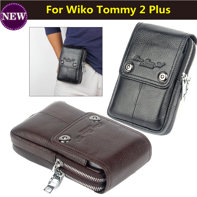 f7505d44 Men Genuine Leather Outdoor Sport Casual Phone Bag Cellphone Pouch for Wiko  Tommy 2 Plus 5.5 Inches Phone Free Shipping