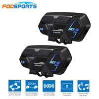 2 pcs Fodsports BT Motorcycle Headset Helmet Intercom M1-S pro 8 Riders 2000m Group Talk Moto Bluetooth waterproof Interphone