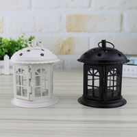 Stoving Varnish Crafts Decorations Castle Iron Art Candlesticks Black And White 13 X 10 5 Cm