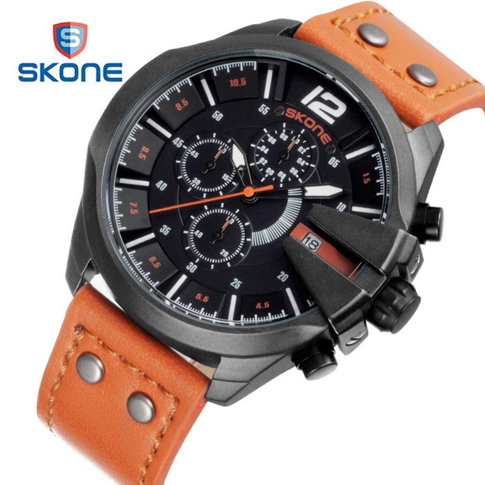SKONE Sport 3 Dials Military Watch Men Famous Brand Luxury Leather Army Mens Quartz Watch Watches Relogio Masculino S-Shock XFCS weide fashion casual quartz watch men sport watches famous luxury brand stainless steel military army relogio masculino wh3305