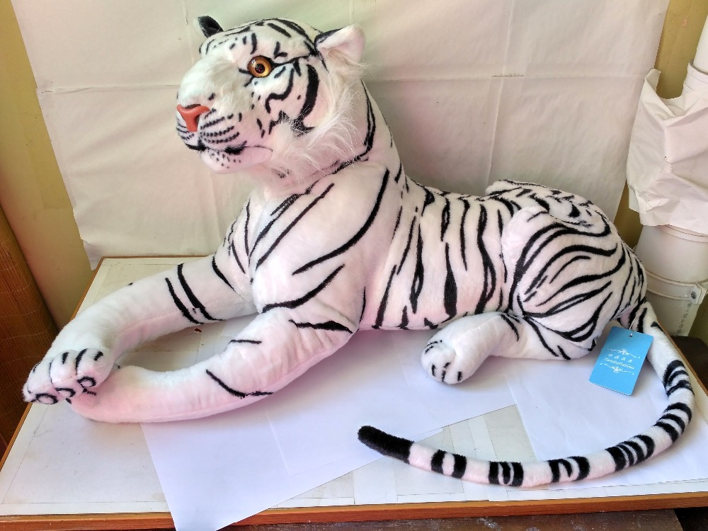 big plush white tiger toy simulation white tiger doll gift about 85cm 0573 stuffed animal 110cm plush tiger toy about 43 inch simulation tiger doll great gift free shipping w018