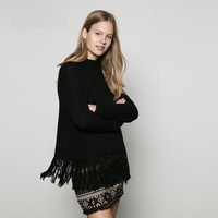 Winter Women S Fashion Loose Sweaters O Neck Long Sleeve Thickening Warm Quality Tassel Knitted Sweaters