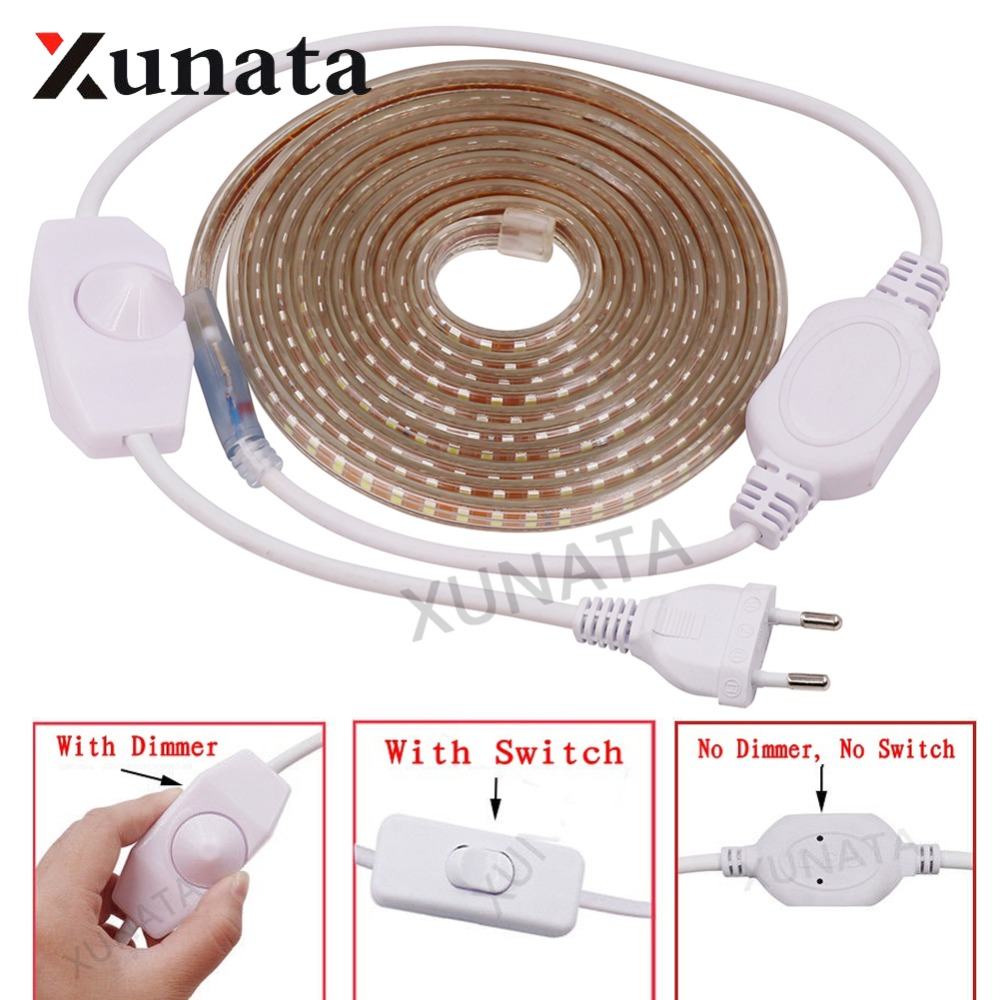 1m 2m 220V SMD 2835 LED Strip Kitchen Waterproof 120 LEDs/m Ribbon Tape Flexible LED Light With EU Dimmer Switch Free Shipping