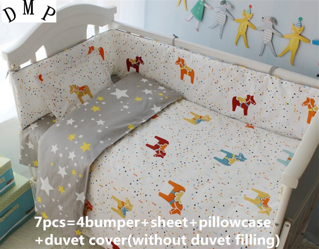 Discount 6 7pcs baby bedding set 100 cotton baby cot sets quilt cover sheet pillow cover