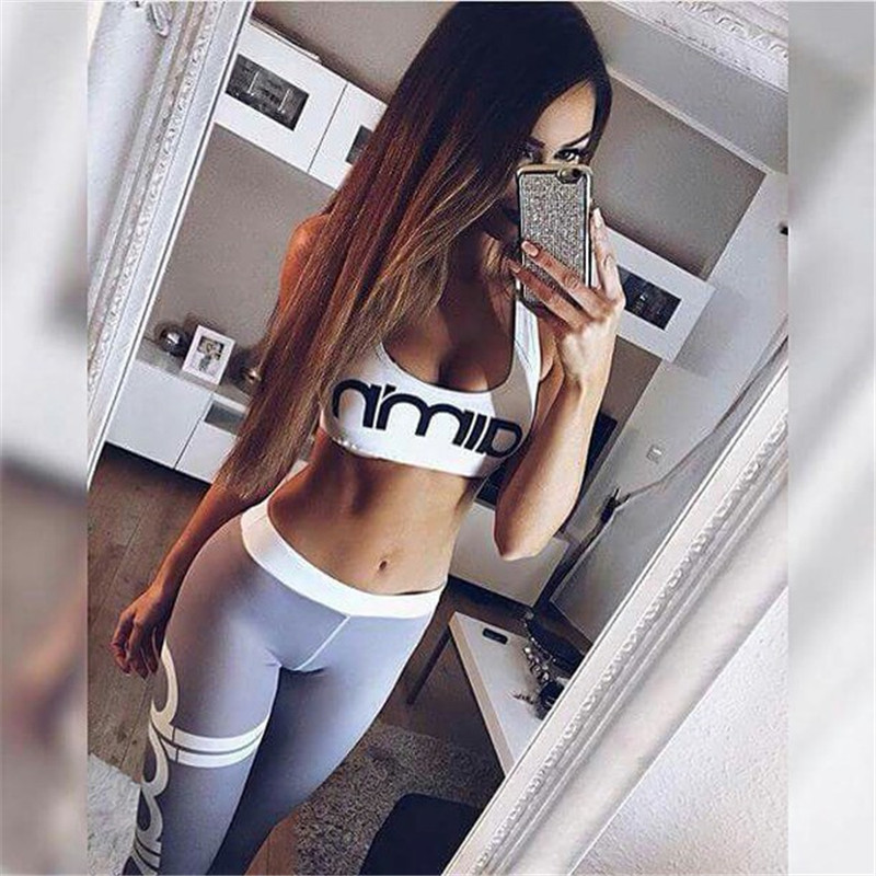 Letter Printing Quick-drying Fitness Women Yoga Sets Bra Pants Fitness Workout Clothing Gym Running Girls Slim ...