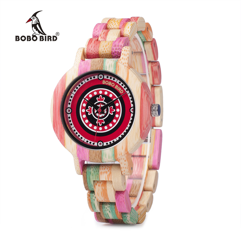 BOBO BIRD WP08 Colorful Bamboo Wood Watch for Women Print Dial Face Wooden Band Quartz Watches as Gift Accept OEM Dropshipping bobo bird l b08 bamboo wooden watches for men women casual wood dial face 2035 quartz watch silicone strap extra band as gift