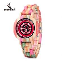 Bobo pássaro wp08 colorido relógio de madeira de bambu para as mulheres impressão dial face banda de madeira relógios de quartzo como presente aceitar oem dropshipping