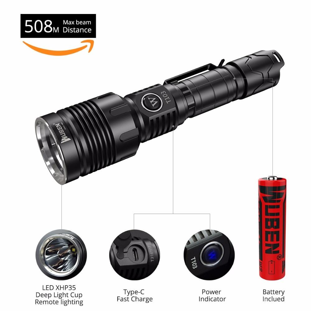 Здесь можно купить  WUBEN LED Flashlight Tactical Waterproof Rechargeable Torch T103 Pro CREE XHP35 LED Aluminum Alloy Black Patroling, Hiking etc.  Свет и освещение