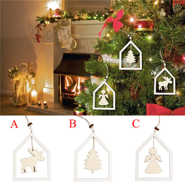 15cm woden christmas tree hanging pendant angel xmas tree small string hanging ornament new year home - Angel Christmas Tree Ornaments