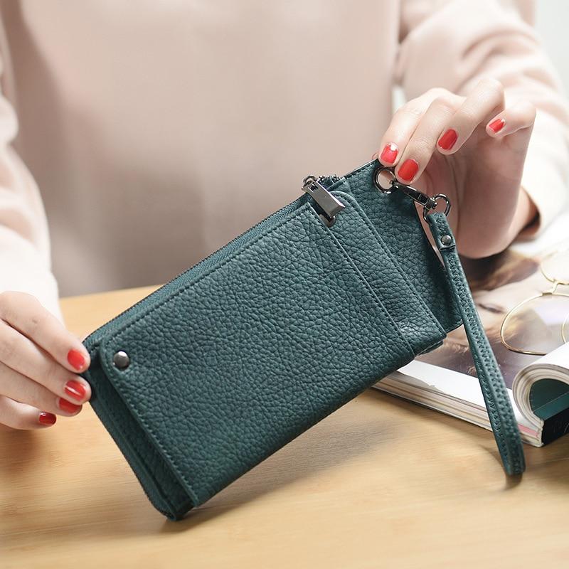купить 2018 Long Fashion Wallet for Ladies PU Leather Money Phone Holder Purses Female Zipper Solid Candy Wristlet Clutch Hand Bag онлайн