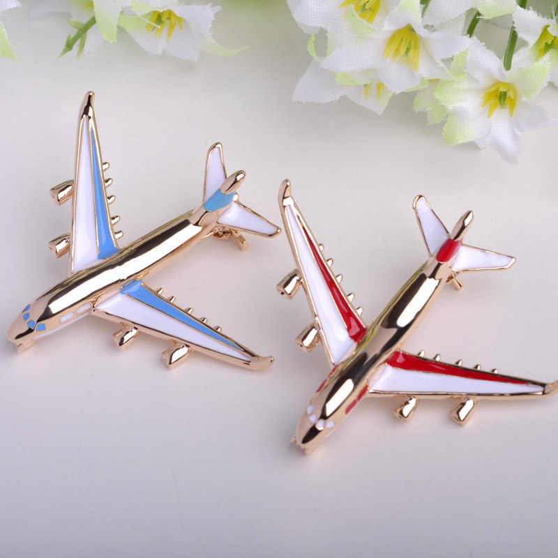 Lucu Biru Enamel Pesawat Bros Pin Warna Emas Perhiasan Gadis Gaun Syal Suit Kerah Klip Pesawat Korsase Anak-anak Bros