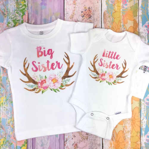 Sister Matching Outfits Baby Kid Girl Little Big Sister Cotton Clothes Jumpsuit Romper Outfits T Shirt