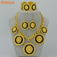 Anniyo TWO COLOR Lion Jewelry Set Gold Color Big Africa lions Necklace Bracelet Earrings For Women Ethiopian Sets #051106