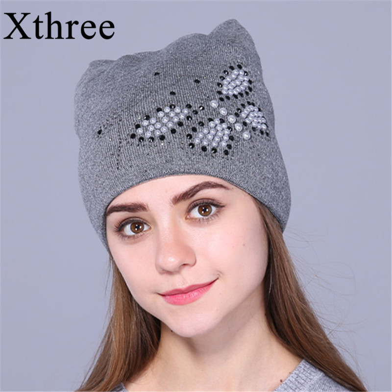 Xthree Autumn winter hat for women knitted beanies hat cat ear stylish cap Butterfly 2017 new fashion lovely cap gorros femininos