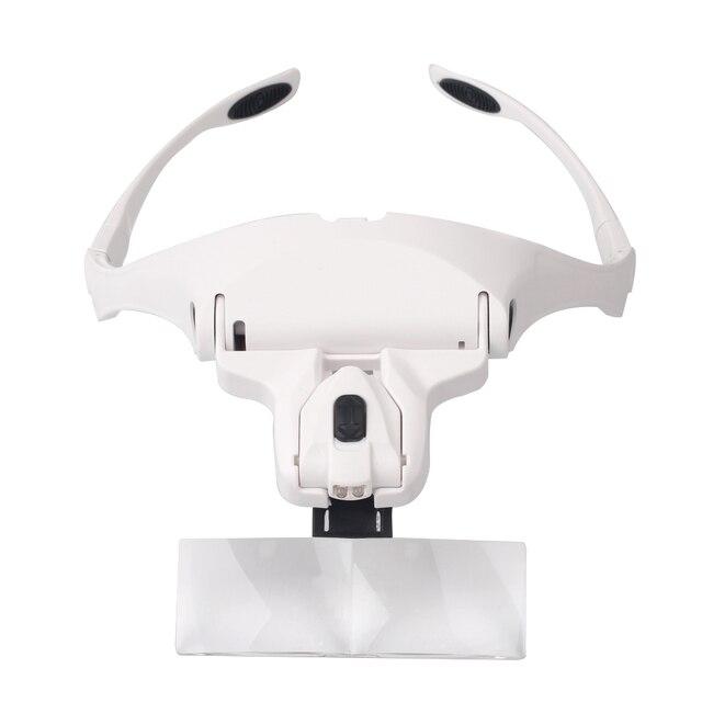 5 Lens Adjustable Headband Magnifying Glass With LED Light for Eyelash Extension,Magnifier Lamp for Eyelashes