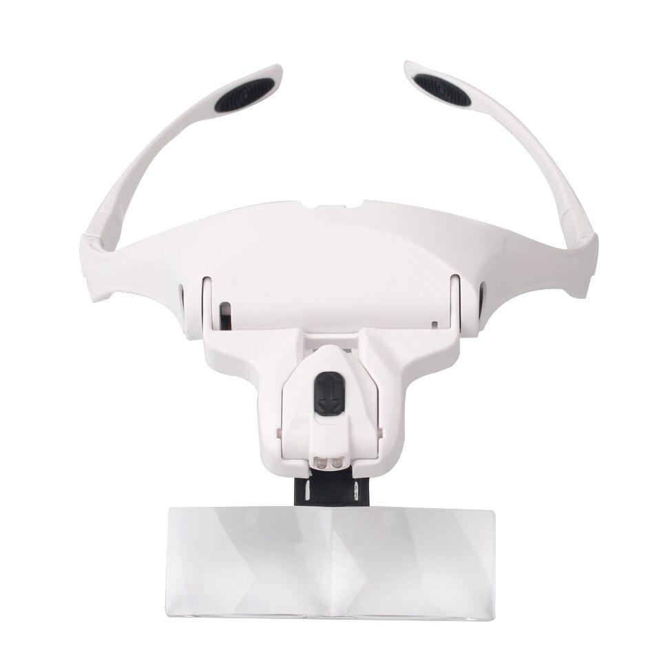 5 lentes de cabeza ajustable lupa con luz LED para extensión de pestañas, lupa para pestañas
