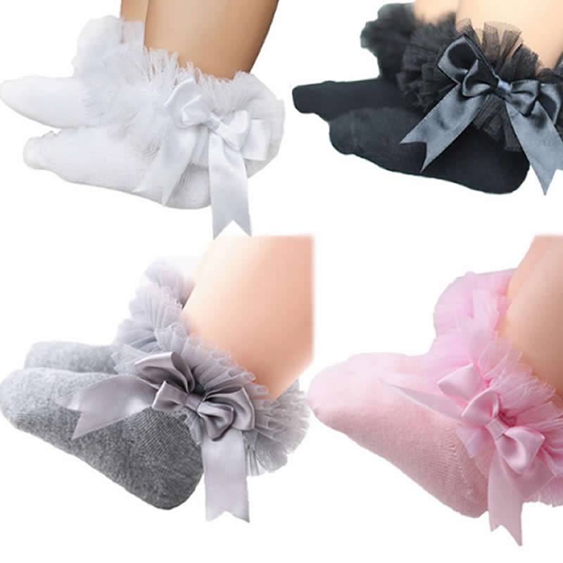 Lovely Baby Kids Princess Girl Vintage Lace Ruffle Frilly Trim Ankle Socks
