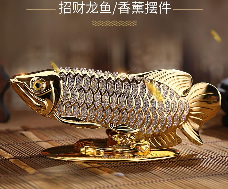 HOME OFFICE company SHOP CAR TOP cool Efficacious Talisman Money Drawing Diamonds Arowana Golden Fish FENG