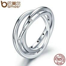 Bamoer стерлингового серебра 925 3 круг капель стекируемые закрученного симметрии, ясно CZ Кольцо для женщин обручальные ювелирные изделия PA7627