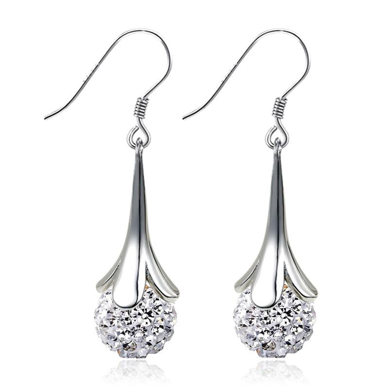 New Full Crystal Ball Bright 925 Sterling Silver Earring  Drop Earrings New  Fashion Long Section Earrings  Jewelry