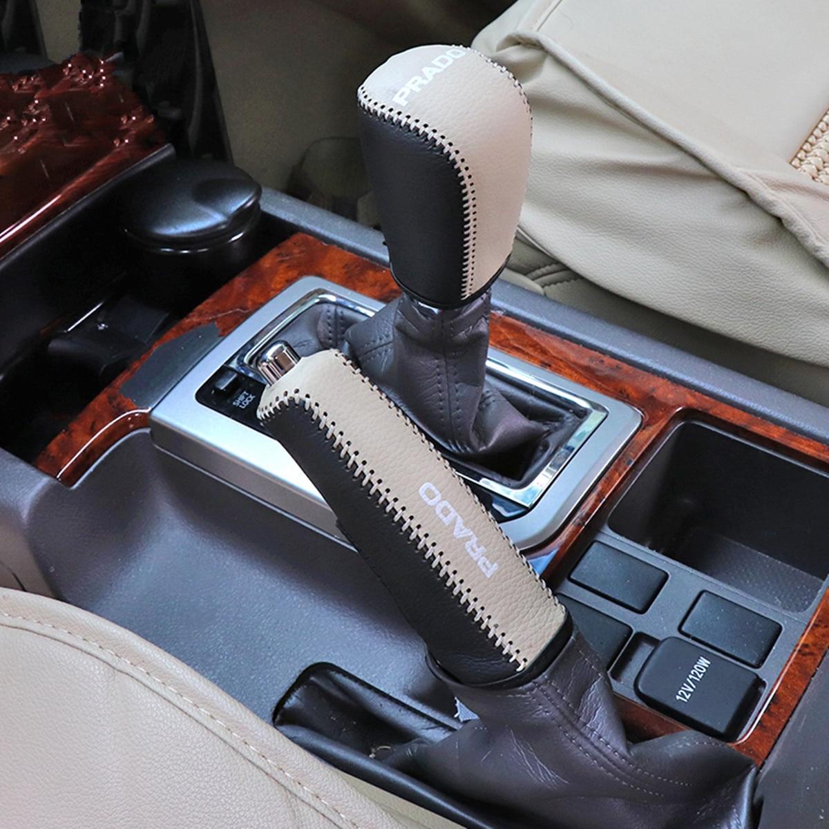 Botão do Deslocamento de Engrenagem do Freio de Mão de Couro genuíno Capa para Toyota Land Cruiser Prado 150 2010 2012 2013 2014 2015 2016 2017 2018