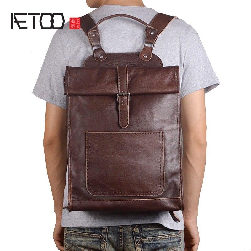 AETOO Original leather computer bag shoulder bag head layer leather leisure travel backpack simple fashion