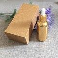 4 unids 30 ml vacío frasco gotero vacío chapado de oro Con caja de madera, botella de vidrio de aceite esencial, jar subpaquete perfume