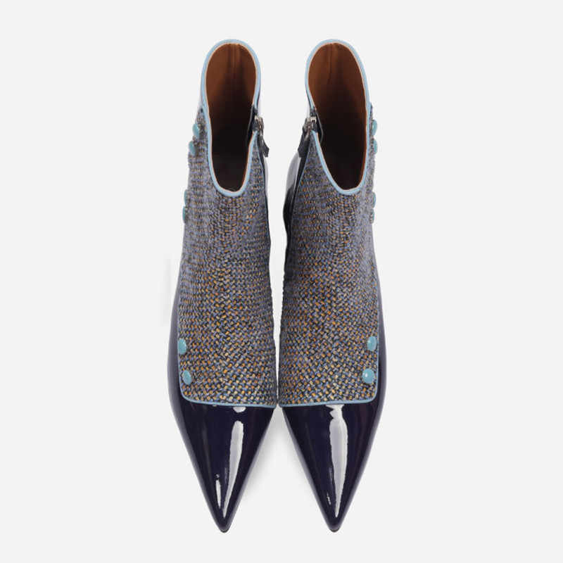 Vintage Mavi Patent Deri Kadın kısa çizmeler Seksi Sivri Burun ayak Bileği Patik Ekose Kare Yüksek Topuk Kış Chelsea Botine Mujer