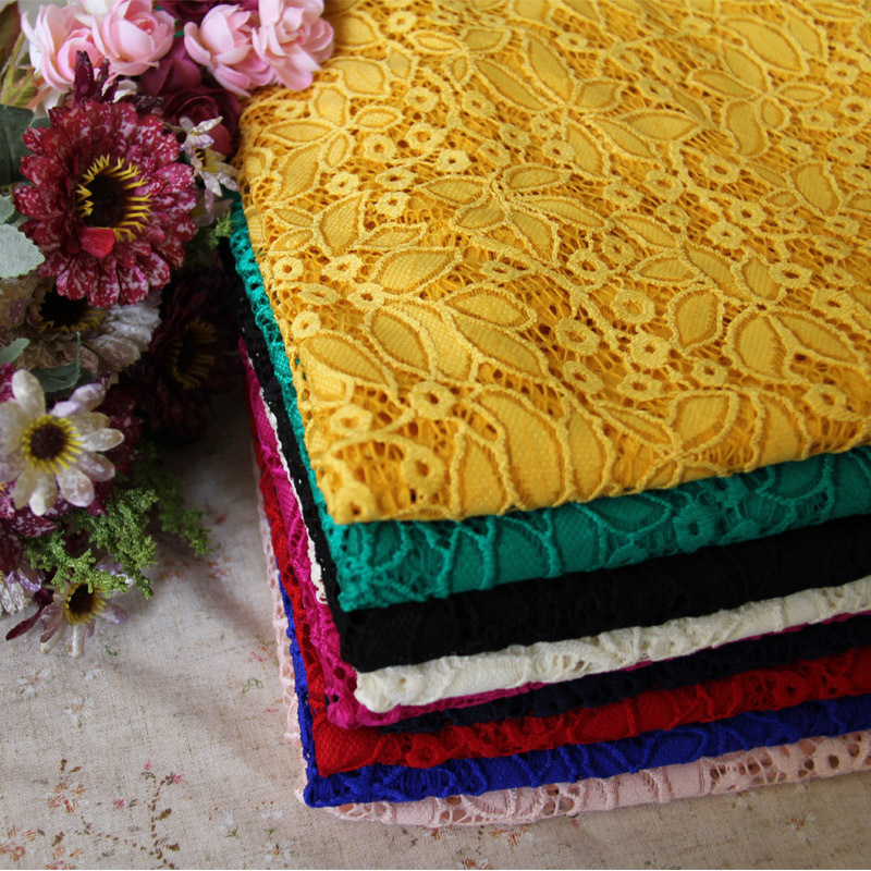 8Colors high end lace fabric wholesale 8 Spandex stretch lace fabric colorful allover leaves blue green