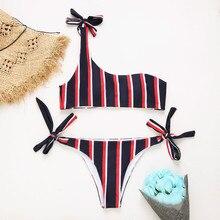 2018 New One Shoulder Stripped Bikini Set Swimsuit Bathing Suit