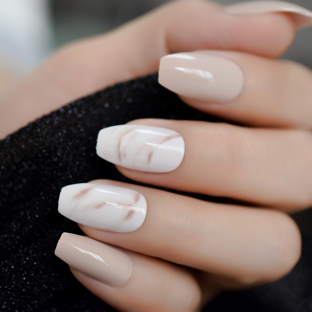 24Pcs Ballerina Fake Nails Khaki Nude Marble Coffin Flat Artificial False Nail Tips For Office Home Faux Ongle Free Glue Sticker