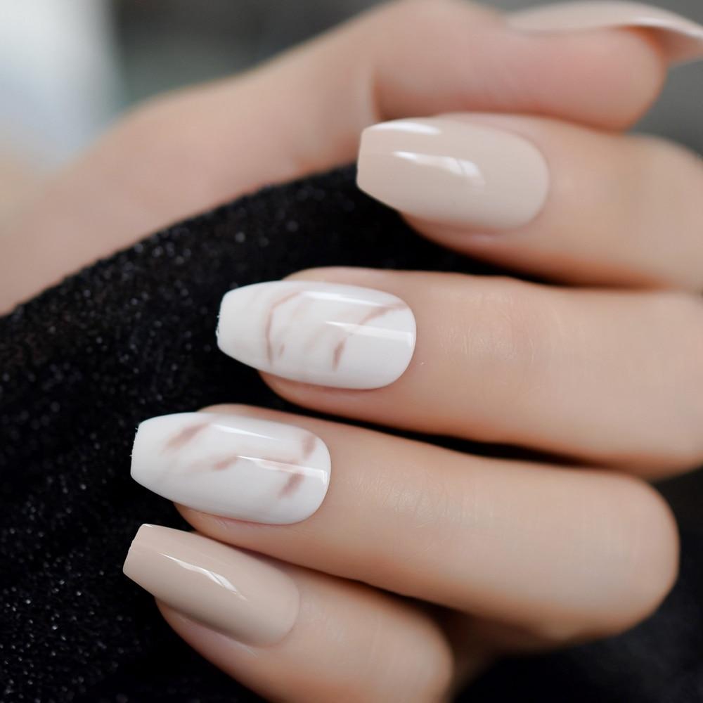 24Pcs Ballerina Fake Nails Khaki Nude Marble Coffin Flat -4004