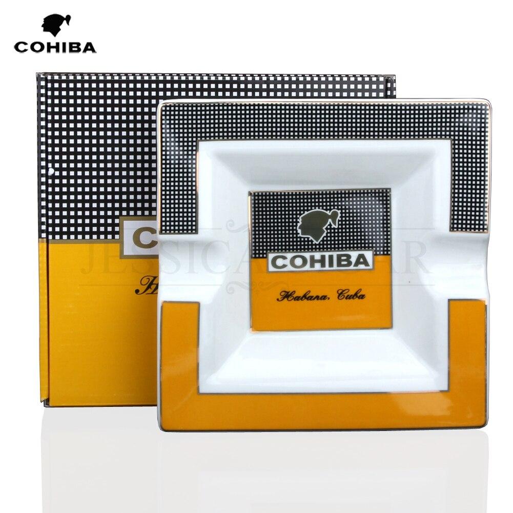 COHIBA Square Ceramic Cigarette Ashtrays 2 Holder 1 Ash Slot Table Cigar Ash Tray Large Ashtray For Home With Gift Box|Ashtrays| |  - title=