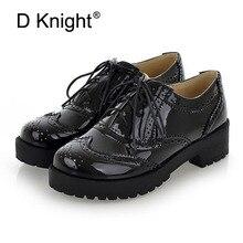 Tamaño 34-43 Nuevo 2018 Vintage negro/blanco punta redonda de cuero Oxfords zapato de mujer de encaje de plataforma plana Brogue Creepers zapatos