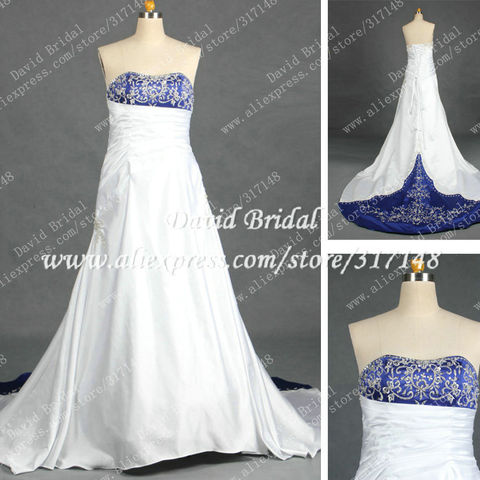 Real Sample RD297 A Line Strapless Embroidery Royal Blue