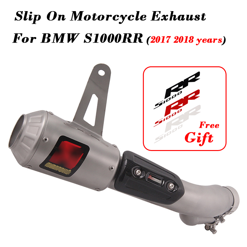 Slip On Motorcycle <font><b>Exhaust</b></font> Stickers Carbon Fiber Stainless Escape Muffler With Middle Link Pipe For BMW <font><b>S1000RR</b></font> <font><b>2017</b></font> <font><b>2018</b></font> Years image