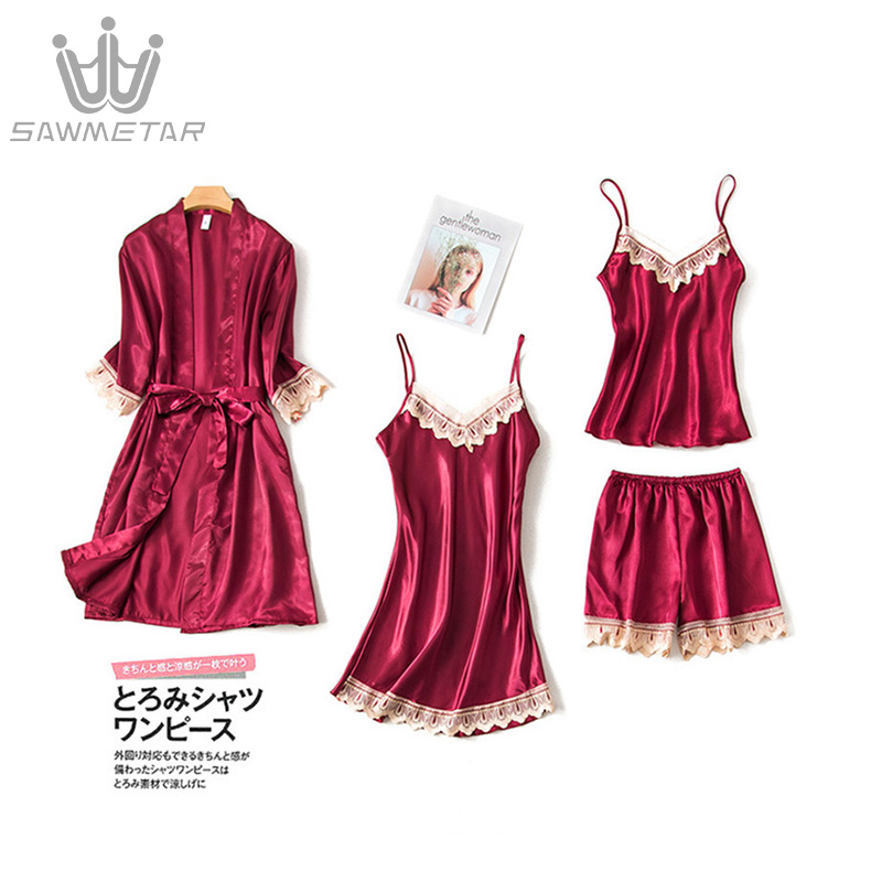 Women Pajamas 4 Pieces Sets Summer Satin Sleepwear Silk Home Wear Home Clothing Embroidery Sleep Lounge Nightwears For Lady