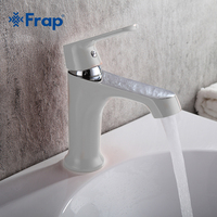 FRAP White Bathroom Fixture Brass Faucets Toilet Water Basin Sink Tap Colored Bathroom Sink Faucet Water