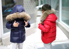(XYF) 2016 Fashion Brand Children Clothing Winter Boys Fur Down Jacket With Hood Baby Warm Long Style Outwear Free Shipping