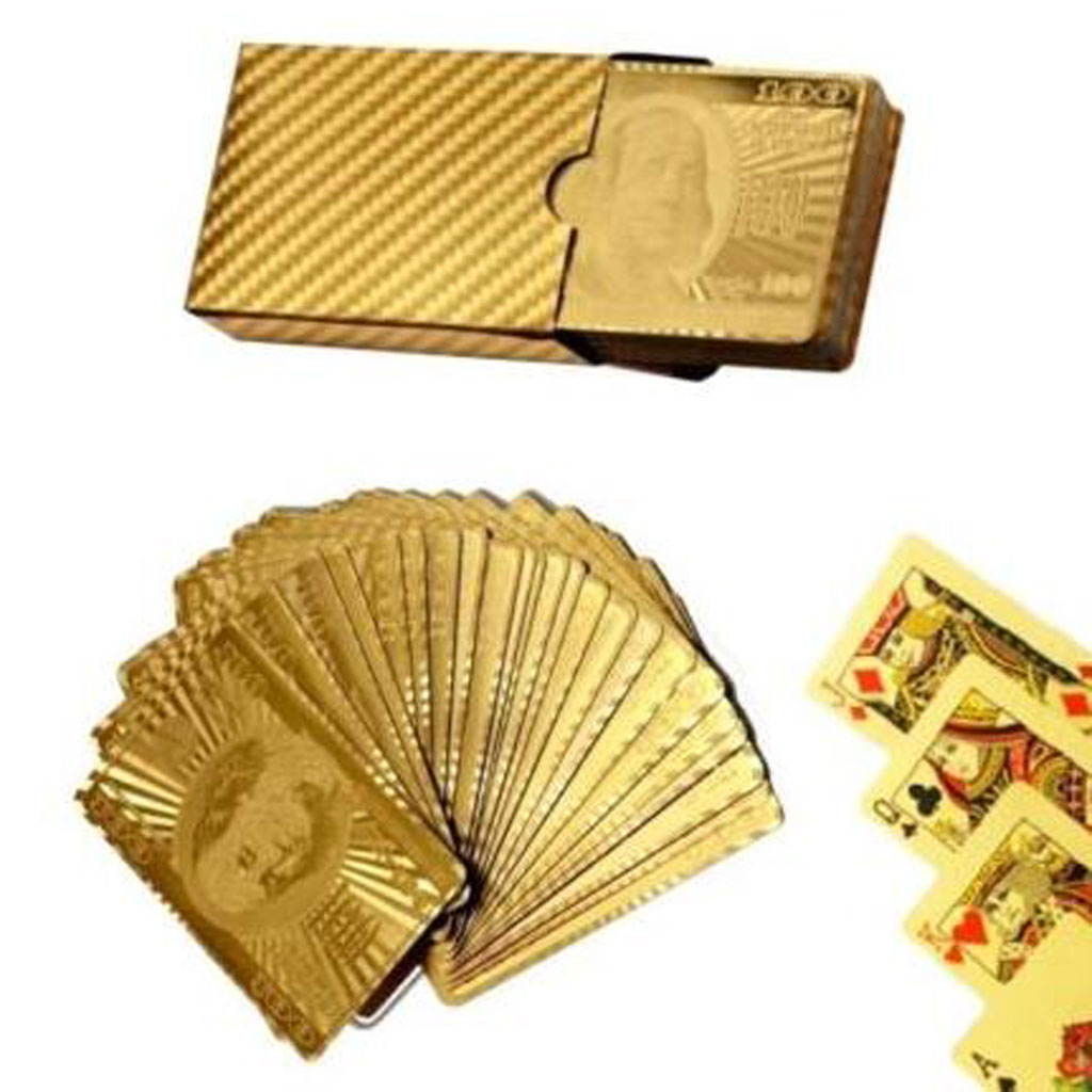 Hot Sale Playing Cards With 24K Gold Leaf Dollar Design Full Deck Poker Game Set Plastic Magic Card Waterproof Cards baralho in Playing Cards from Sports Entertainment