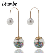 Ltumbe New Fashion Gold Color Long Double sides Glass Ball Stud Earrings Star Simulated Pearl Earrings For Women Party Jewelry цена в Москве и Питере