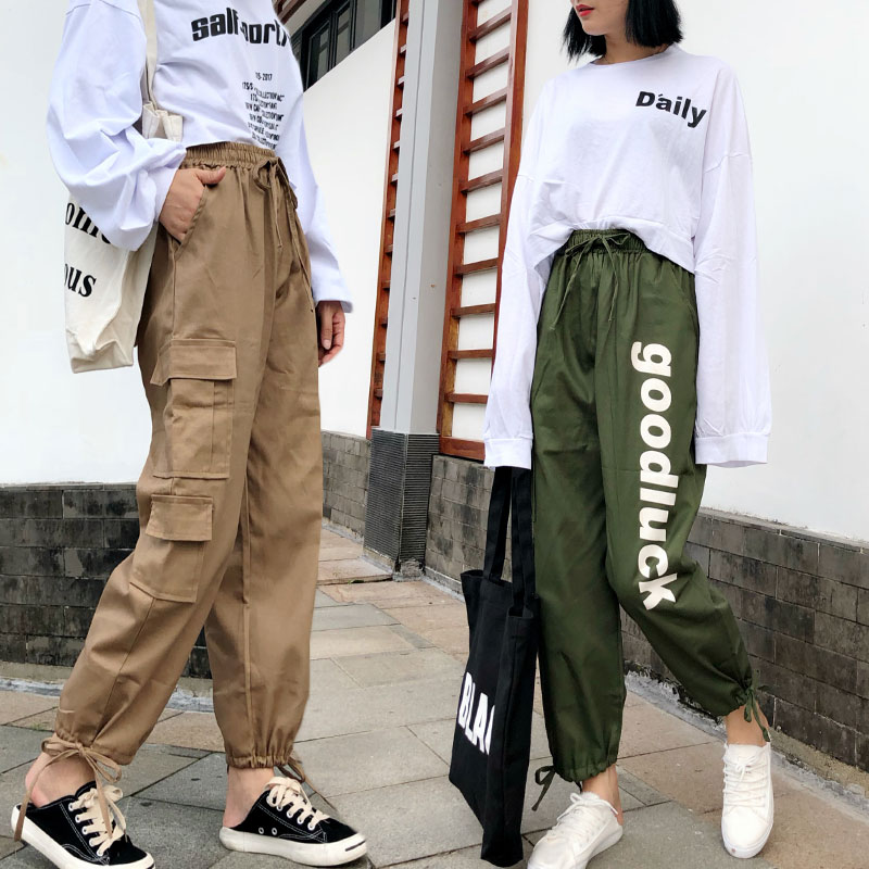 Streetwear Cargo   Pants   Women Casual Joggers Black High Waist Loose Female Trousers Korean Style Letter Green Ladies   Pants     Capri
