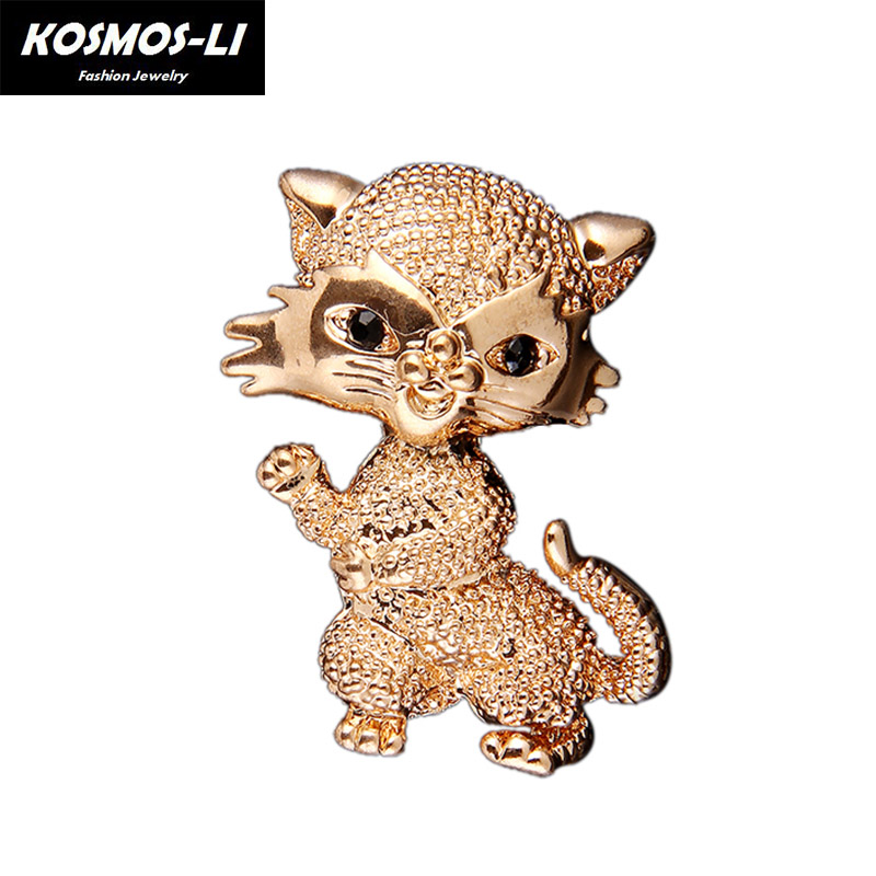 Trendy Cute Little Gold Cat Brooch For Women Scarf Suit Clips Corsages Brand Bijoux Enamel Pin Fashion Jewelry