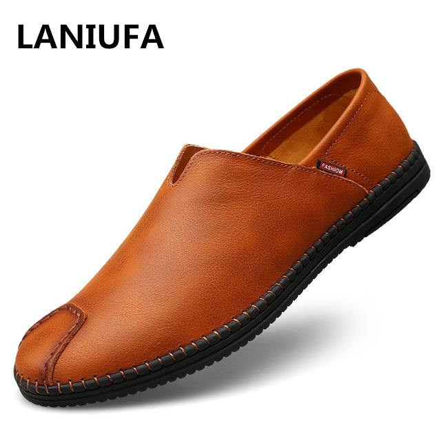 Genuine Leather Men Casual Shoes new Brand 2019 Mens Loafers Moccasins Breathable Slip on Driving Shoes men plus size 37-44 #926Genuine Leather Men Casual Shoes new Brand 2019 Mens Loafers Moccasins Breathable Slip on Driving Shoes men plus size 37-44 #926
